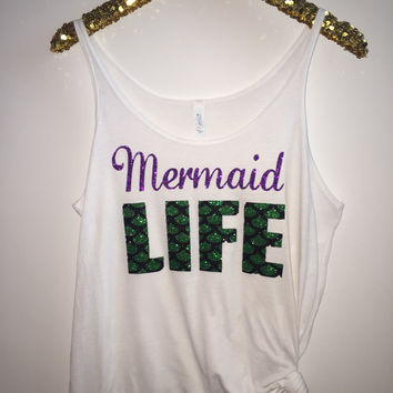 Mermaid Life - Slouchy Relaxed Fit Tank - Ruffles with Love - Fashion Tee - Graphic Tee