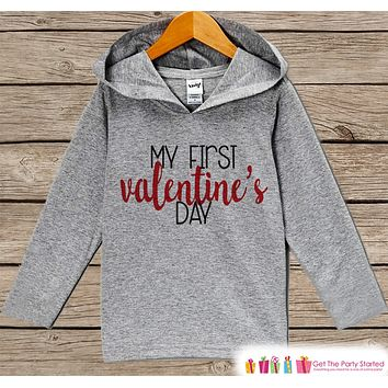 First Valentines Day Outfit - Girl or Boy Hoodie - My First Valentine Pullover - Baby's 1st Valentine's Day Outfit - Newborn, Infant Hoodie