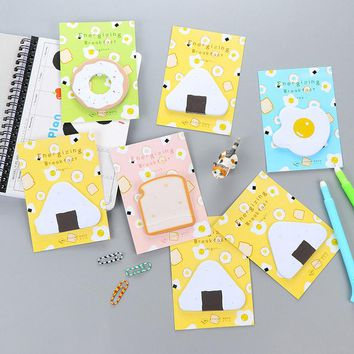 Cute Kawaii Egg Memo Pad Post It Note Creative Toast Sticky Paper For Kids Gift School Supplies Free Shipping 169
