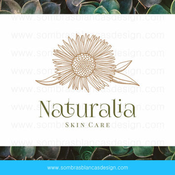 OOAK Premade Logo Design - Natural Flower - Perfect for a skin care company or a bath and body shop