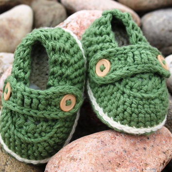 Crochet Pattern Baby Boy Loafers : Baby Boy Button Loafers, Crochet Baby from FiberBeautique ...