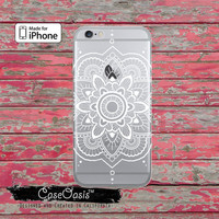 White Mandala Henna Tattoo Design Floral Boho Clear Rubber Phone Case For iPhone 6, iPhone 6 Plus, iPhone 5/5s, iPhone 5c Transparent Case
