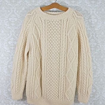 Vintage 1970s Hand Knit + Cableknit Aran Sweater