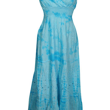 Womens Maxi Dress Floral Embroidered Flare Spaghetti Strap Cotton Tie Dye Blue Deep Neck Sexy Summer Dresses S