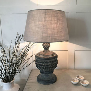 Distressed Black Acorn Table Lamp Taupe Linen Shade