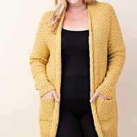 Aspen Knit Pocket Cardigan | Mustard | Plus