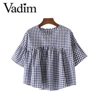 Women ruffles plaid checked pleated shirts half sleeve short blouse blusas ladies fashion casual cute brand tops DT996