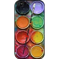 Watercolor Set Iphone 4/4s Case, Funny Iphone Cover, Paintbox Iphone White Hard Case - All Carriers