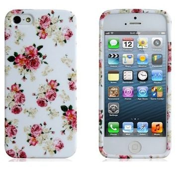 Wisedeal Colorful Rose Protective SLIM Skin Back TPU rubber Case Cover for iPhone 5 with a Wisedeal Keychain Gift