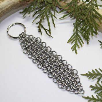 Handcrafted Stainless Steel Chainmail Maille Keychain