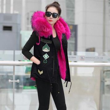 2018 New High quality Winter Fur Vest coat Luxury Faux Liner Warm Women Coat Vests Raccoon collar Fashion Women's Coats Jacket