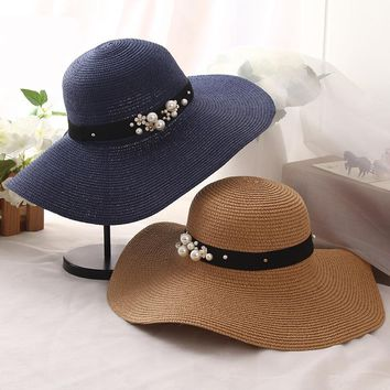 High Quality Summer Sun Hats for Women Solid Large Brimmed Sun Hats Black White Floppy Hats with Pearls Ladies Beach Hat