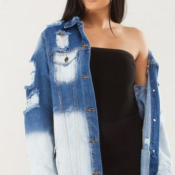 Dyed Distressed Denim Jacket