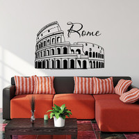 Wall Decal Rome Skyline City Silhouette Decals Vinyl Stickers Italy Rome Colosseum Wall Art Bedroom Living Room Office Street Art Decor 0043