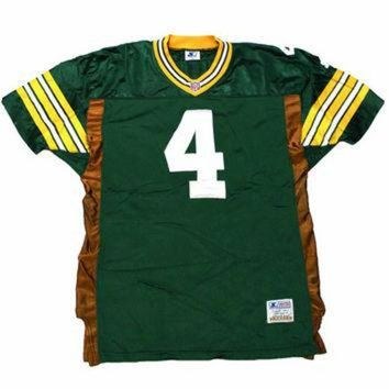 PEAPYD9 Vintage 1995 Authentic Starter Green Bay Packers #4 Brett Favre NFL Jersey Mens Size 4