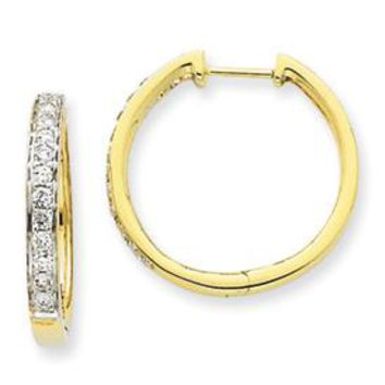 14k Yellow Gold Imperial Diamond Hinged Hoop Earrings
