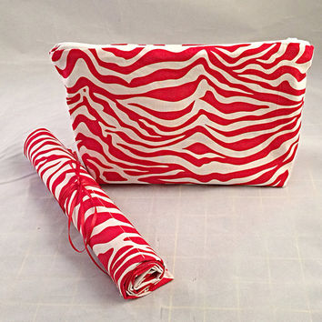Zebra print red & white cosmetic bag brush roll makeup bag accessory
