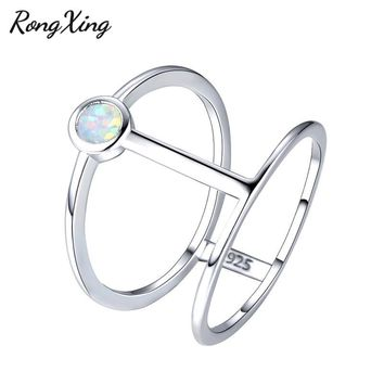 RongXing 925 Sterling Silver Filled Small Round Birthstone White Fire Opal Rings For Women Men Hollow Design Lover Gifts RS0226