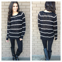 White Stripe Knit Tunic Sweater
