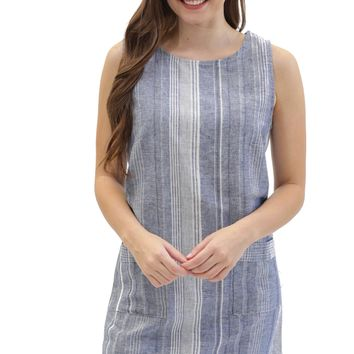 striped linen tegan pocket shift dress.