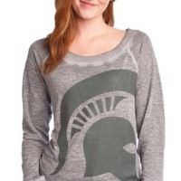 NCAA Women's Michigan State Spartans Burnout Sweatshirt (Gray, X-Small)