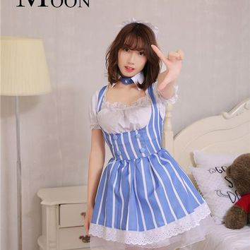 MOONIGHT Lolita Sexy French Maid Uniform Dress Femininas Halloween Costume Cosplay Costumes for Women