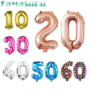 16inch Gold/silver 10 20 30 40 50 60 70 80 90 Years Birthday party Anniversary Foil Balloons Adult Party Decorations Supplies