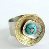 French Franc coin ring with sterling silver, German silver and bead ri