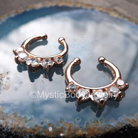 Fake Septum Nose Hanger 14g Rose Gold Ring Clear Gems Gold Piercing Clicker Body Jewelry Cuff Non Pierced Nostril Hoop Prong Set Jewellery