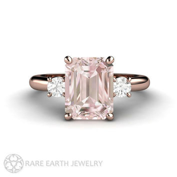 2ct Pink Morganite Ring Engagement Ring Emerald cut Morganite 3 Stone Style with Conflict Free  Diamonds 14K or 18K Rose Gold Wedding Ring