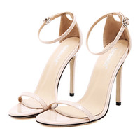 Lace-up Thin High Heel Shoes Sandals   apricot
