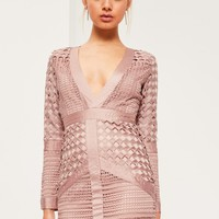 Missguided - Pink Lace Plunge Bodycon Dress
