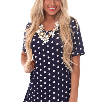 Navy Polka Dot Tunic Tee