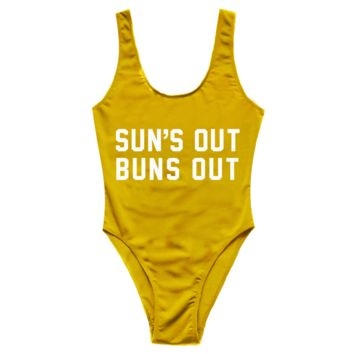 ¨SUNS OUT BUNS OUT¨ Printed One Piece
