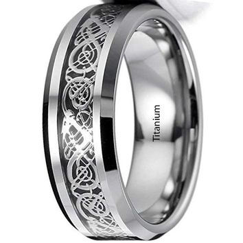 CERTIFIED 8mm Men's Silver Black Titanium Steel Ring Band Irish Celtic Knot Dragon