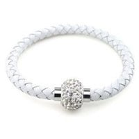 Magnetic Clasp Braided White Faux Leather Bracelet