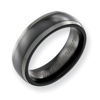 Men's 7.0mm Engraved Two-Tone Titanium Polished Wedding Band (27 Characters)