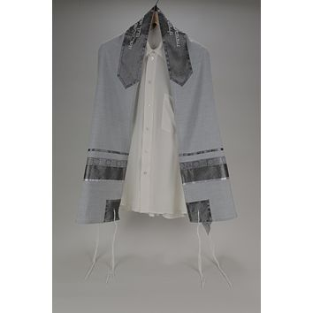 Distinguished Gray Tallit with geometric design,  Viscose Tallit