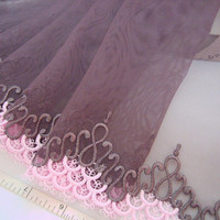 Violet lace embroidered antique style tulle trim 2 yards VT102