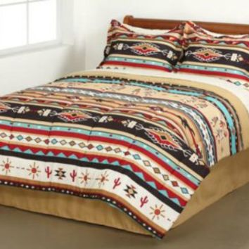 Southwest Turquoise Tan Red Native American Queen Comforter Set (8 Piece Bed In A Bag)