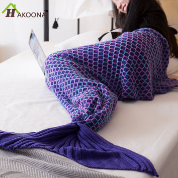 Colorful Fish Scales Shape Mermaid Tail Crocheted Thread Blankets