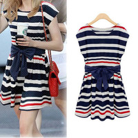 Striped Sailor Dress with bowknot