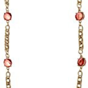"""1928 Jewelry Gold-Tone Coral Pink Chain Strand Necklace, 36"""""""