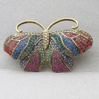 Joan Rivers Vintage 1990's French Rainbow Moth Butterfly Multi Color Rhinestone Pin