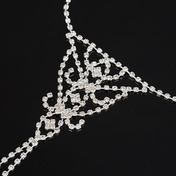 Slave Chain Anklet Clear Rhinestone Short Fringe Silver Plated Sparkly Toe Ring Bare Foot Jewelry for Women