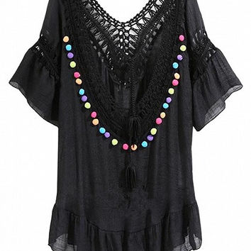 Black Crochet Panel Double Plunge Colored Pom Pom Accent Dress