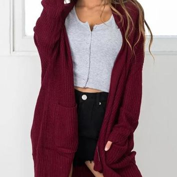 Knitting Solid Color Long Cardigan Tops