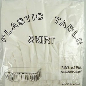 Plastic Table Skirt Adhesive Pleated, 29-inch x 14-ft, White