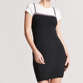 Stripe-Trim Bodycon Dress