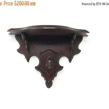 Antique Victorian Black Forest Corbel Wall Shelf Carved Figure